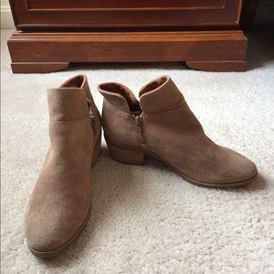 Crown Vintage Tan Suede Side Zip Ankle Boots